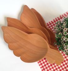 Wooden Leaf Tray Plate by La Dame in Wood