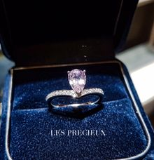 PINK TEARDROP SAPPHIRE ROSE GOLD ENGAGEMENT RING by LES PRECIEUX