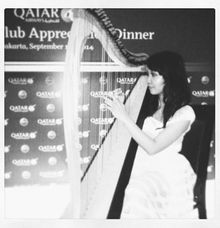 Harp performance for Qatar Airways gala dinner by Nelson Music Entertainment