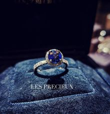 Natural Royal Blue Round Sapphire Engagement Ring by LES PRECIEUX