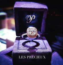 Cushion Diamond Double Halo Engagement Ring by LES PRECIEUX
