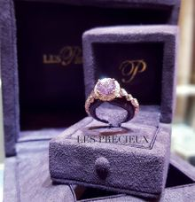 Natural Unheated Purple Pink Sapphire Engagement Ring by LES PRECIEUX