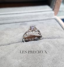 Beaded Milgrain Vintage Style Set of Engagement Ring & Wedding Band by LES PRECIEUX