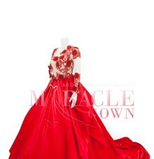 Miracle Gown Couture - Fiery red lace sequin ball gown by Miracle Gown