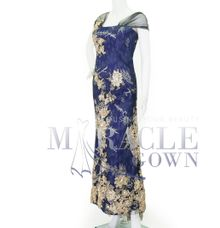 Miracle Gown Couture - Golden flower in violet blue lace gown by Miracle Gown