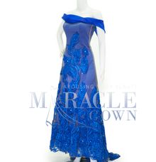 Miracle Gown Couture- Floral peacock in Royal blue sabrina by Miracle Gown