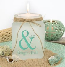 Beach themed teal wedding centerpiece by WeddingCandles.com