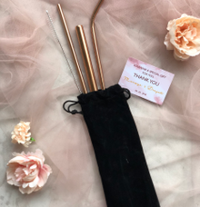 stainless straw set rose gold by Book.Idea