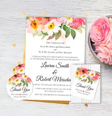 Romantic Bouquet Wedding Invitation by Gift Elements