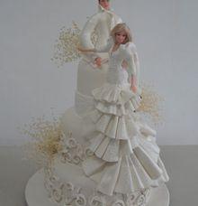 3 tiers wedding cake barbie theme by The Chocolate Land