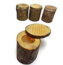 Wood Log Ring/ Tempat Cincin Potongan Kayu Rustic by Dolpin Wedding Gallery