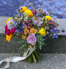 Multicoloured bridal bouquet for F by Florals Actually
