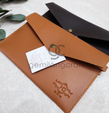 Leather envelope pouch for Diah & Harianoor by Gemilang Craft