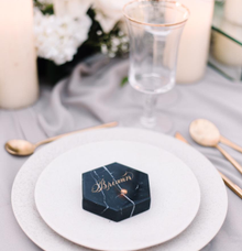 Lettering on marble coaster by Grace and Truly Calligraphy