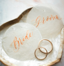 Bride and Groom on Capiz Shell by Grace and Truly Calligraphy