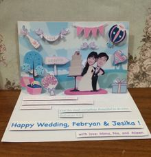 Handmade Pop Up Card for Wedding by Amour Market