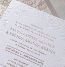 orchid letterpress invitation - dusty pink & gold by Pensée invitation & stationery