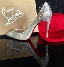 Embellishing a pair of Christian Louboutins by Crystalize Couture