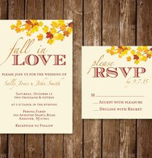Fall In Love- Wedding Invitation by Blue Line Design