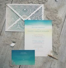 Lace lasercut envelope with ocean theme by Pensée invitation & stationery