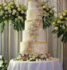 Prach N White Cascading Wedding Cake by Sugaria cake
