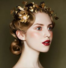 Gold Black Leaf Wedding Crown by Fairytale Undercover