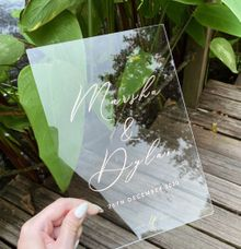 Clear acrylic sign + rose gold by Lustre Peach Paperie