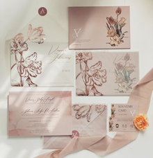 Vellum and rosegold foil invitation by Invitation Papermint