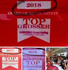 Award as Top Grosser for 3 Consecutive year by Narcissus Catering & Event Styling