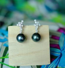 Diamond Cluster and Tahitian Pearl Ear Drops by Heritage Gems Singapore