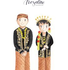 Javanese wedding illustration by Paula Rosaline Illustration