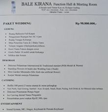 Paket Promo Wedding by Kirana Two Function Hall