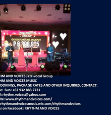 Weekly gig at Casino Filipino Manila Bay Philippines February 2018 Saturdays by RHYTHM AND VOICES MUSIC