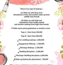 price list  by Syifa Husnaini MakeUp