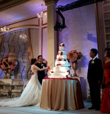 Red And Peach Wedding Cake by FOREVER CAKE