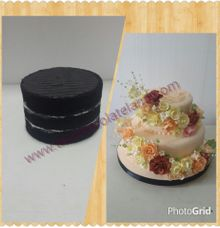 Black velvet and flowers wedding cake by The Chocolate Land