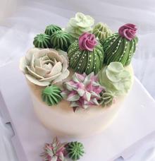 Succulent terrarium buttercream flower cake by Yoyosummer